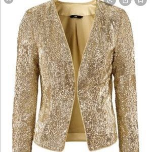 NWT H&M gold sequined blazer